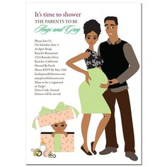 African American Baby Shower Invitations - Glam Couple