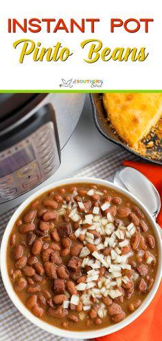 Instant Pot Pinto Beans - A Southern Soul Pressure Cooker Beans, Instant Pot Pressure Cooker, Pressure Cooker Recipes, Pressure Cooking, Pressure Cooker Pinto Beans Recipe, Slow Cooker, Instant Pot Dinner Recipes, Side Dish Recipes, Side Dishes