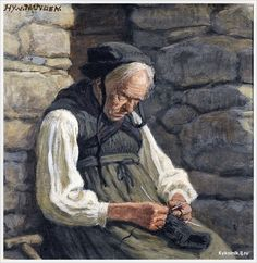 "Charles Henri van Muyden (Switzerland, 1860-1936) ""Old Peasant woman knitting"""