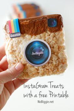 Instagram Rice Krispie Treats with a free printable via NoBiggie.net fun for St. Patricks Day