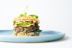 Bulgogi Burger, Cucumber Kimchi & Udon Patties