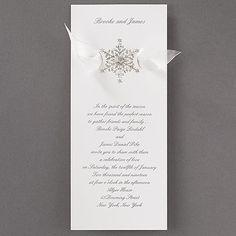 Shimmering Snowflake - Invitation 40% Off http://mediaplus.carlsoncraft.com/Wedding/Wedding-Invitations/3159-VZ1223-Shimmering-Snowflake--Invitation.pro VZ1223 A shimmering snowflake design with a sheer ribbon shown underneath is displayed on this wedding invitation.