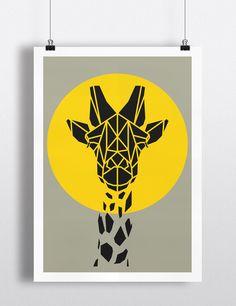 Yellow Giraffe Poster