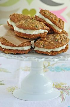 Zucchini Bread Sandwich Cookies  KELLY: Try to make this with 1/2 cup arrowroot , 1/4 cup almond flour and 1/4 cup oatmeal flour.  Use 1/8 tsp xanthum gum!