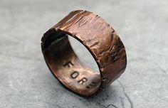 Custom Copper Ring Band, Alternative Ring, Special Occasions, Woodgrain Finish, 3/8 ' Width, Dark Oxidized