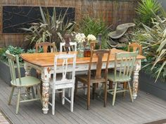 Vintage Industrial,Shabby Chic Table With 8 Eclectic Se...