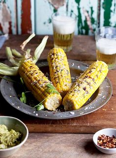 Corn On The Cob 10 Ways! Pesto Corn on the Cob with Coriander or Cilantro, Parmesan Vegetable Dishes, Vegetable Recipes, Vegetarian Recipes, Healthy Recipes, Parmesan, Grilling Recipes, Cooking Recipes, Grilling Tips, Chili
