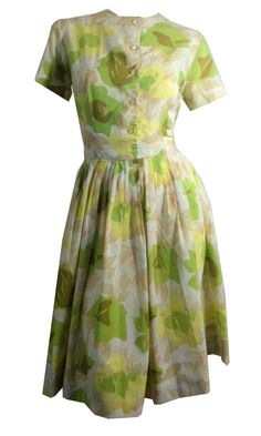Avocado Green and Yellow Floral Print Nylon Dress circa 1960s