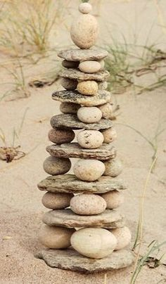 "Serenity :) Offer river rocks and flat stones- challenge the children to build ""up"" Rock towers challenge children with balance and design                                                                                                                                                      Cairns"
