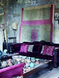 zeynep fadillioglu perfect purple velvet hippie sofa...get the hookah
