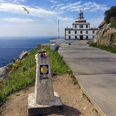 Faro de Fisterra, Km. 0 del Camino de Santiago. FINISTERRE, provincia de La Coruña, Galicia, España. Spain.