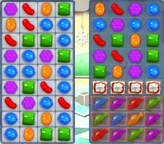 In Candy Crush Saga level 256 you need to clear the jelly and score 30,000 points. There are two 4 x 10 boards and the left hand one is covered in double j