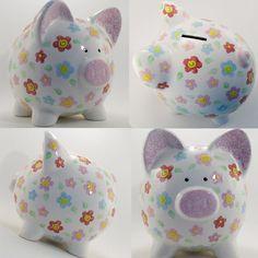 Floral Piggy Bank.. Pennies add up to Bills $$$ !!..=)