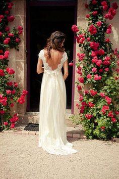 Elegant Simple Cap Sleeve A Line V Back Cheap Long Lace Wedding Party Dresses,SVD526