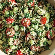 """The classic Middle Eastern salad         gets an of-the-moment upgrade with the """"it"""" grain, quinoa. (Okay, okay, it's technically a seed.) The tiny nutritional powerhouse is loaded with protein, making this dish both         a delicious vegetarian main course and a summer-suitable side."""