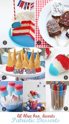 4th of July Desserts ★ Fourth of July Flag Cake ✮ Brownie Bars ✮ Patriotic Ice Cream Cones ✮ All American Chocolate Covered Strawberries ✮ Red, White & Blue Ice Pops ✮ Chocolate Dipped Pretzels