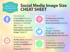 Social Media Image Size Cheat Sheets + 3 different colors to chose from.