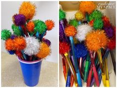 Truffula Tree Pens - great idea for party favors or a small project for the party attendees!