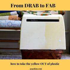 Sewing Techniques How to Make Yellow Plastic Look NEW! From Drab to FAB! - How to take the yellow out of plastic Sewing Machines Best, Antique Sewing Machines, Vintage Sewing Patterns, Viking Sewing Machine, Sewing Machine Repair, Sewing Machine Covers, Knitting Machine, Easy Sewing Projects, Sewing Hacks