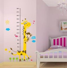 Naughty Monkey and Yellow Giraffe wall sticker for kid's bedroom cartoon animals Height Chart Nursery Wall Decal Decor Removable wallpaper mural has been published on www. Kids Wall Decals, Nursery Wall Decals, Baby Nursery Decor, Wall Stickers, Nursery Murals, Bedroom Themes, Kids Bedroom, Baby Equipment, Height Chart