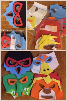"""Super Easy! Legends of Chima themed foam masks. I designed these myself from pictures of the characters, I used the lion, croc, eagle and raven tribes...wish I would have done the wolves! It was a requested tribe at the party. Even still the kids loved this craft, I let them """"figure out""""what character they had by piecing the masks together.  The images shown were actual masks made by 7 yr olds. I used glue dots, so I didn't have any """"dry time"""". We then competed in games on tribe teams."""