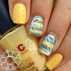 Yellow, grey, robin's egg blue Stripes lines nail art