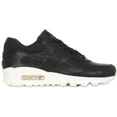 Nike Women Air Max 90 Pinnacle Leather Sneakers (875 SAR) ❤ liked on Polyvore featuring shoes, sneakers, black, black trainers, black sneakers, perforated sneakers, black leather shoes and nike shoes