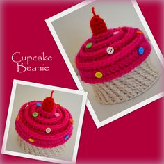 Crochet cupcake beanie pattern from Unravel Me Crochet Cupcake, Beanie Pattern, Sewing Crafts, Gems, Spaces, Christmas Ornaments, Holiday Decor, How To Make, Amigurumi