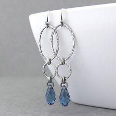 Long Dangle Earrings Silver Drop Earrings Blue Crystal Earrings Geometric Jewelry September Birthstone Jewelry Gift for Her - Adorned Aubrey