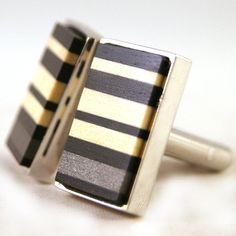 Mens Cuff Links  African Ebony with American Holly by dfuss, $70.00