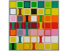 Heinz Kreutz zweimal-neununvierzig-quadrate-über-eine-kontinuierliche-farbreihe-von-gelb-nach-grün