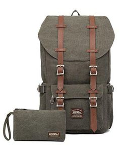 """Laptop Outdoor Backpack Travel Hiking& Camping Rucksack Pack Casual Large College School Daypack Shoulder Book Bags Back Fits 15"""" Laptop & Tablets by Kaukko (Canvas Green(2pcs))"""