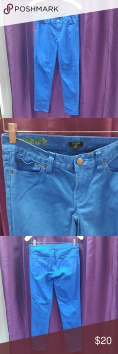 """Bright Blue J.Crew Toothpick size 26 Stretch Jeans How fun is this color? Electric blue skinny """"toothpick"""" jeans in size 26 from J. Crew. Light signs of wear. J. Crew Jeans Skinny"""