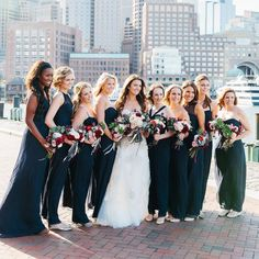 Clad in navy-chiffon Amsale gowns from L'Elite Bridal, the bridesmaids joined Danielle for some pre-ceremony portraits by the water. Blue Wedding, Wedding Colors, Wedding Styles, Fall Wedding, Amsale Bridesmaid, Bridesmaids, Beautiful Bridesmaid Dresses, Wedding Dresses, Elite Bridal
