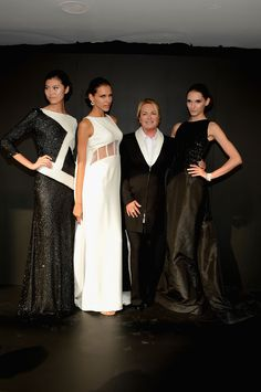 Designer Pamella Roland coordinates with her models at #MBFW #elegant #blacktie #fashionshow