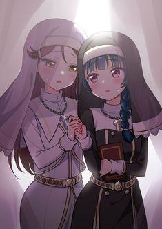 A pair of nuns [Love Live! Girls In Love, Cute Girls, Love Live, Ensemble Stars, Manga Comics, Black Love, Art Girl, Yuri, Your Dog