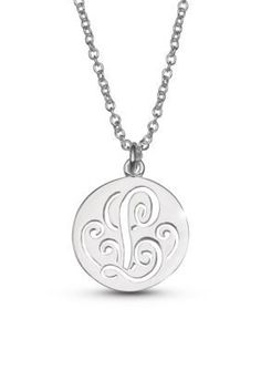 Belk Silverworks  Fine Silver Plated Initial L Disc Pendant Necklace