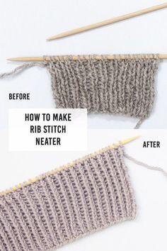 To Make Rib Stitch Neater: Twisted Rib Stitch Neater Ribs; How To Make Rib Stitch Neater with Twisted Rib StitchNeater Ribs; How To Make Rib Stitch Neater with Twisted Rib Stitch Rib Stitch Knitting, Knitting Help, Knitting Stiches, Easy Knitting, Knitting Needles, Knitting Patterns Free, Crochet Patterns, Knit Stitches, Stitch Patterns