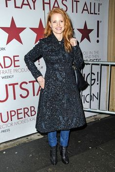 "Jessica Chastain, at her Broadway play ""The Heiress"", with an embroidered trench from Missoni Resort 2013 Collection."