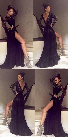 Black Long Sleeves Lace Side Split Sexy V Back Long Prom Dress, 9150#LoveDresses #longpromdress #charmingpromgown #fashionpromdress #elegantpartydress #promdress #blackpromgown