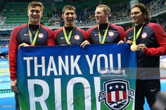 Gold medalists Nathan Adrian, Michael Phelps, Ryan Murphy and Cody Miller of the United States thank the crowd during the medal ceremony for the Men's 4 x 100m Medley Relay Final on Day 8 of the Rio 2016 Olympic Games at the Olympic Aquatics Stadium on August 13, 2016 in Rio de Janeiro, Brazil.