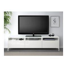 BESTÅ Tv-taso + laatikot - valkoinen/Selsviken korkeakiilto/valkoinen, liukukisko ponnahduslaatikkoon - IKEA