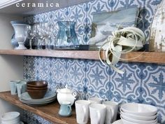 Encaustic Cement tile is a fantastic accent tile in this small open shelf. The clean and soft colors are a wonderful touch for this Traditional design. Cement tile is practical and very durable. Use on walls or floors. Info@ceramica.us
