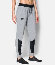Women's UA Favorite French Terry Warm Up Pant, True Gray Heather, zoomed image