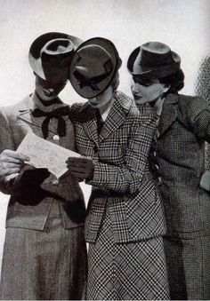 Sharply dressed vintage women, 1940s! 40s suits ladies women wool jacket skirt plaid tweed hats gloves photo print ad models
