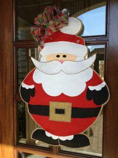 PrimitiveCountryFarmhouseMerry Christmas 1811 Santa Front Door Hanger
