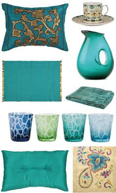 How to create a summery atmosphere in your home: cushion with pretty golden sequined floral pattern, porcelain tea cup with turquoise and gold Egyptian pattern, a beautiful mouth-blown colored glass jug, multicolored blanket with fringe, set of four tumblers in beautiful shades of blue and green, ramie table runner with multicolored, embroidered floral pattern, Japanese style plain silk cushion with matching bows, turquoise place mat with matching metallic thread and beaded edges.
