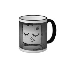 Adorable Robot Coffee Mug #coffee #mugs #cute #blackandwhite #artwork #robots #gifts