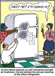 cleaning cartoon As the others opened up with industrial-strength air freshener, Connie tackled the annual cleaning of the office refrigerator. Office Refrigerator, Clean Fridge, 80 Cartoons, Political Cartoons, Cleaning Cartoon, Office Cartoon, Office Jokes, Cleaning Quotes, Book And Magazine