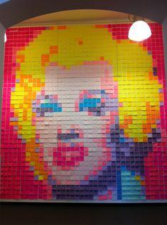 Marilyn Monroe portrait, Post-It style.